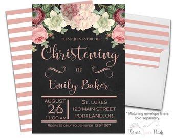 Girls Christening Invitation, Christening Invitation Girl, Girls Dedication Invitation, Floral Baptism Invitation, Baptism Party, Blessing