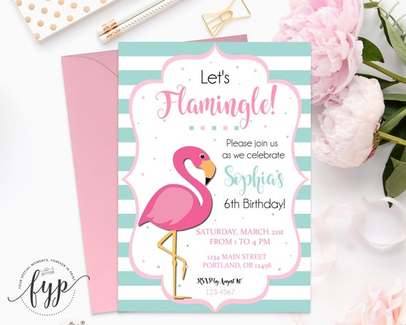 Flamingo party invitation girls birthday invitation flamingo il570xn filmwisefo