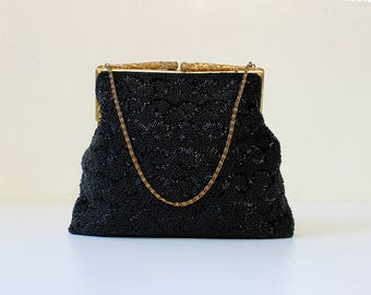 1940s Filigree Frame Hand Beaded Purse // 40s Vintage Black Glass Seed Bead Evening Handbag