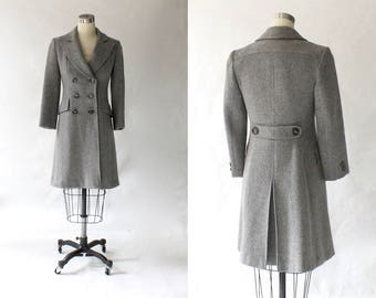 1960s Saks Fifth Avenue Wool Peacoat // 60s Vintage Fitted Double Breasted Knee Length Woman's Coat // XS