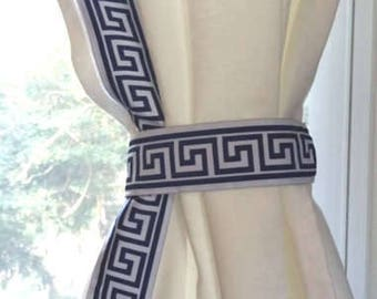 Navy Blue and White Trim Greek Key Curtain - SALE - 96""