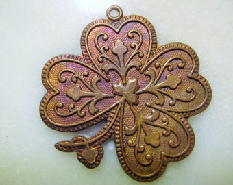 Vintage French Patina Die Struck Brass Four Leaf Good Luck Clover Charm Finding/Jewelry Component/Drop, One 2mm Loop, 25x20mm, 1 Pc.