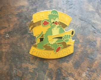Vintage Pussy Hunt Mouse enamel pin