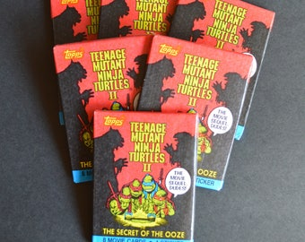 Teenage Mutant Ninja Turtles II The Secret of the Ooze - 6 Unopened Wax Packs of Collector Cards by TOPPS