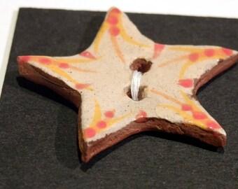 Handmade ceramic buttons -orange star handpainted pottery button C42