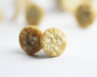 Food Earrings, Food Jewelry, Cookie Earrings, White Chocolate Cookie, Miniature Food Jewelry, Polymer Clay Food, Stud Earrings, Mini Food