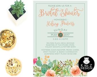 Succulent Bridal Shower Invitation /Succulent Invitation /Bridal Shower Invitation/ Printable Invitation / Printed Invitations