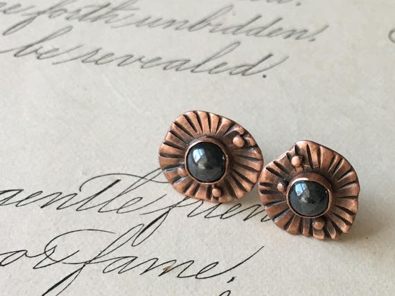 Hematite Earrings | Copper and Stone | Small Copper Earrings