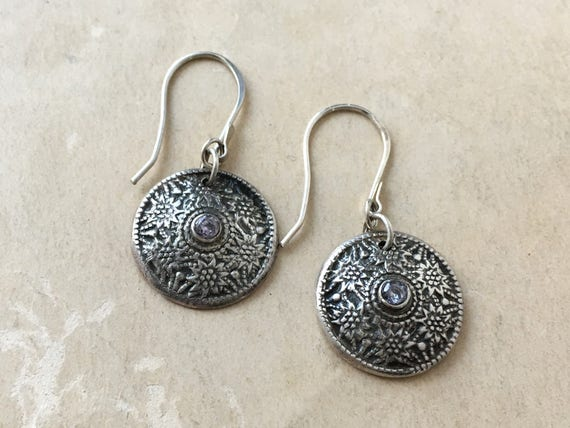 Antique Style Earrings | Button Earrings | Silver and Stone Jewelry
