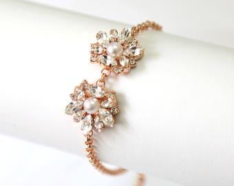 Bridal Bracelet, Bridal Crystal Bracelet, Rose Gold Bracelet, Bridal Pearl Bracelet, Bridesmaids Jewelry, Pearl Gold Crystal Bracelets