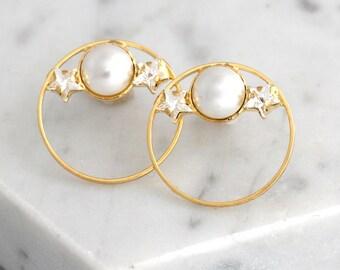 Pearl Earrings, Bridal Pearl Earrings, Hoop Earrings, Bridal Hoop Earrings, Bridesmaids Earrings, Gift For Her, Bridal  Boho Earrings