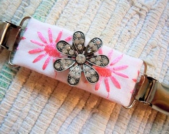 Pink daisy embroidered with medallion dress clip, shirt clip, hat clip, jacket clip, sweater clip