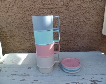 Set of 4 vintage Tupperware stacking coffee cups with coasters