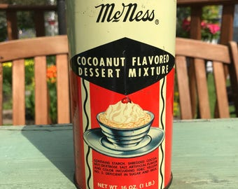 Vintage McNess Cocoanut (Coconut) Flavored Dessert Mixture Tin 16 Oz.