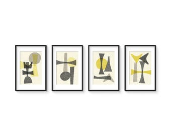 OFFSET SET no.2 - Collection of (4) Giclee Prints - Abstract Geometric Mid Century Modern