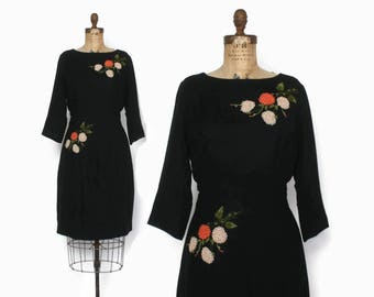 Vintage 60s CASHMERE Dress / Early 1960s Soft Black Embroidered Sheath Dress L