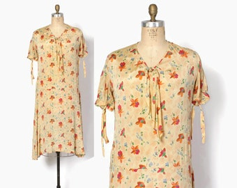 Vintage 20s 30s Floral Day DRESS / 1920s Printed Butter Yellow Rayon Garden Party Gown M - L