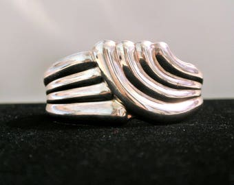 Vintage Sterling Silver Wave Cuff