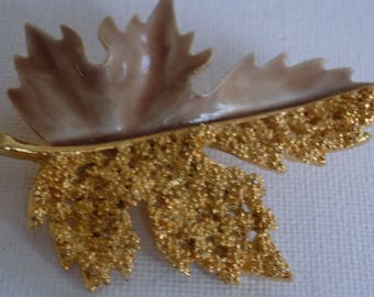 Vintage brooch, signed BSK enamel and textured gold leaf brooch, collectible jewelry