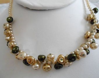 Vintage necklace, faux pearl necklace, choker necklace, black and champagne pearl choker, vintage necklace