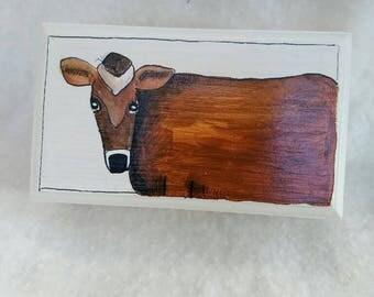 Handpainted cow jewelry box