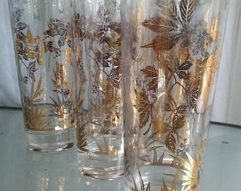 Gold Leaf Design Tall Thin Tumblers, Vintage Drinkware, Barware, Classic Leave Design, Highball Glasses, Set of Six Highball Glasses