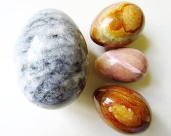 "4 Stone Eggs, Brown & 4"" Gray, Vintage Polished Marble"