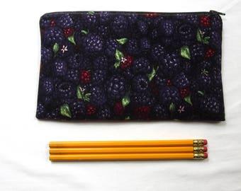 Blackberries Fabric Zipper Pouch / Pencil Case / Make Up Bag / Gadget Pouch
