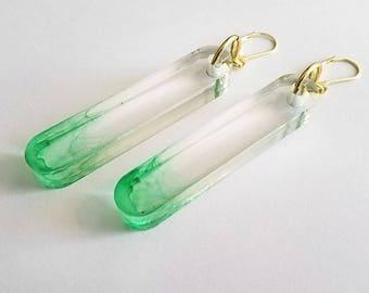 TUBULAR Green Ombre Statement Earrings - minimal jewelry, lucite jewelry, modern earrings, big earrings, laser cut earrings, clear earrings
