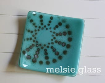 Turquoise glass anything dish - opaque turquoise glass with white and black spiral dot accent