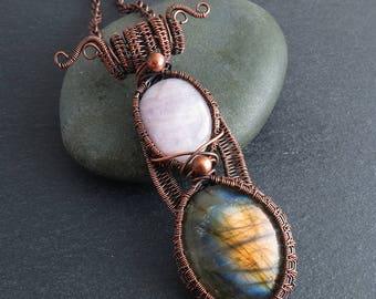 Labradorite & Kunzite Wire Wrapped Pendant (645)