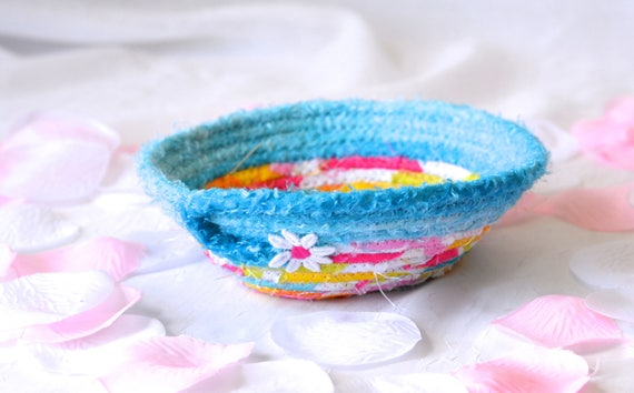 Cute Ring Dish Basket, Modern Candy Dish Bowl, Handmade Fabric Basket, Sateen Fabric Basket, Aqua Ring Dish, Spring Decoration, Mother's Day
