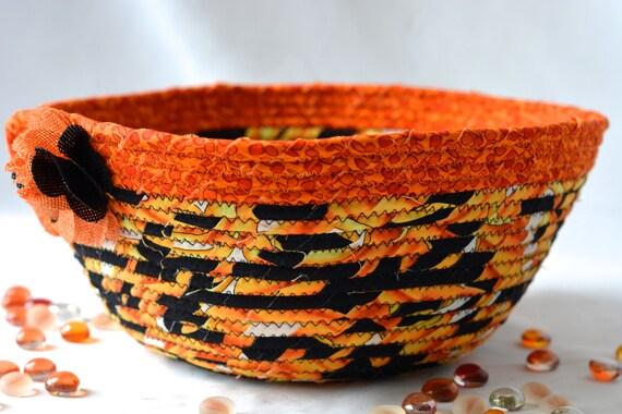 Halloween Fall Decoration, Handmade Halloween Candy Bucket, Decorative Fall Basket, Hand Coiled Fabric Basket