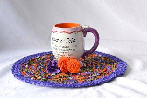"Fall Kitchen Trivet, Halloween Decoration, Handmade Purple Mug Rug, 12""  Place Mat, Lovely Black and Purple Table Mat, Hot Pad"