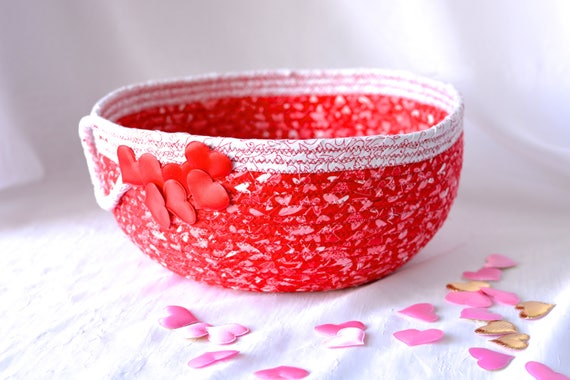 Valentine's Day Home Decor, SALe.... Handmade Heart Basket, Valentine Gift Basket, Heart Napkin Holder, Pink Heart Decorative Bowl