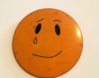 "Vintage sad face Smiley tear pin back 3"" button retro 70's large emoji"