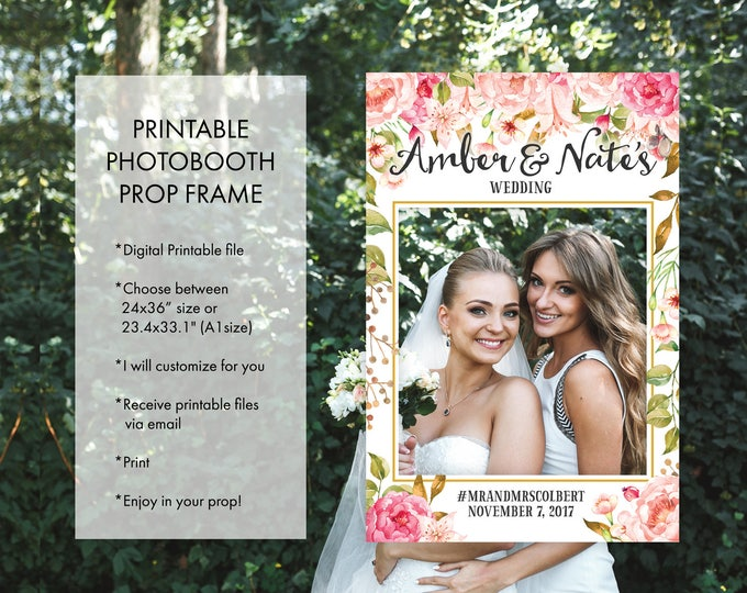 Wedding Bridal Shower Any Occasion Photo Booth Frame Props, Sweet Floral Pink Fuchsia Pink Wedding or Bridal Shower Decoration Photo Prop