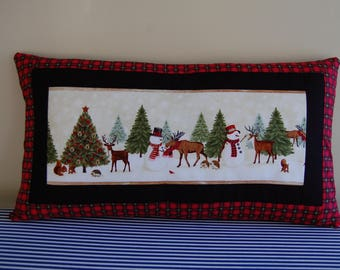 Christmas Pillow, Cabin In the Woods, Holiday Decor