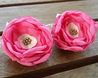 Upcycled flower hair clips