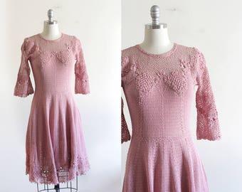 Vintage Pink Lace Crochet Hand Knit Dress / Boho Victorian Style / Hippie / S M