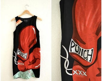SALE Vintage Silk Dress by Nicole Miller with Boxing NYC Tickets TKO Print Size Small Medium