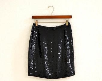 SALE Vintage Black Sequin Skirt Size Small Medium 80s 90s Vintage Sequin Skirt