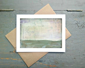 """Abstract Art Card, 5x7"""" Greeting Card with Kraft Brown Envelope, Mixed Media Card, Recycled Card, Eco-Friendly, Gray, Grey Lavender, """"Open"""""""