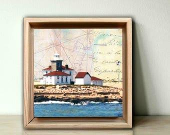 """Lighthouse Art, 4x4 original art in 5x5 floating frame, Watch Hill RI, Mixed Media Art, Rhode Island Art, Mini Art, """"Watch Hill Light"""""""