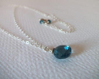 Minimalist Necklace AAA London Blue Topaz Gemstone Handmade Necklace with Sterling Silver