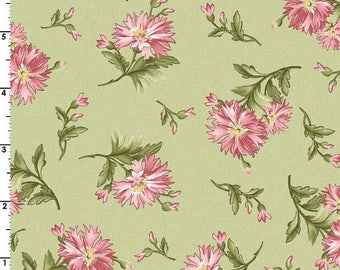 SALE 30% Off - Carnations in Green  8322-G - GRACEFUL Moments by Maywood Studio - By the Yard