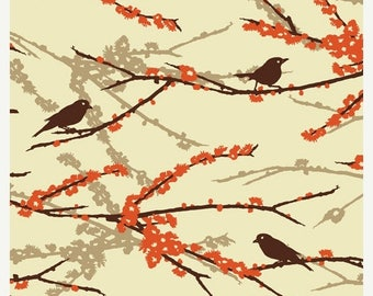 SALE 10% Off - Joel Dewberry AVIARY 2 - Sparrows in Bark JD41 - Free Spirit Fabric - By the Yard