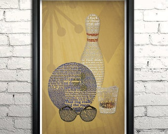 "Big Lebowski word art print - 11x17"" Framed"