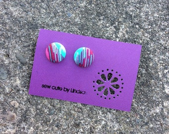 Covered button earrings - Tula Pink Eden - Pink and Aqua