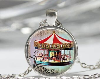 ON SALE Merry Go Round Necklace Carousel Jewelry Carousel Horse Circus Carnival Art Pendant in Bronze or Silver with Link Chain Included